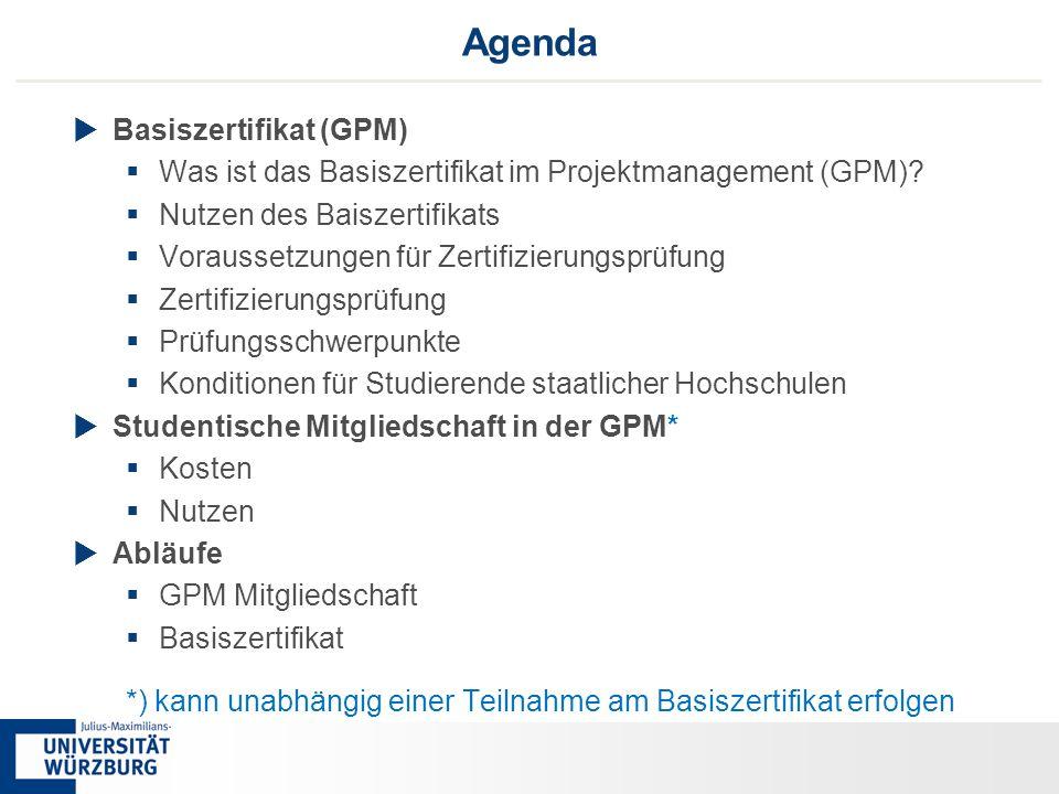 22 Agenda  Basiszertifikat (GPM)  Was ist das Basiszertifikat im Projektmanagement (GPM)?  Nutzen des Baiszertifikats  Voraussetzungen für Zertifi
