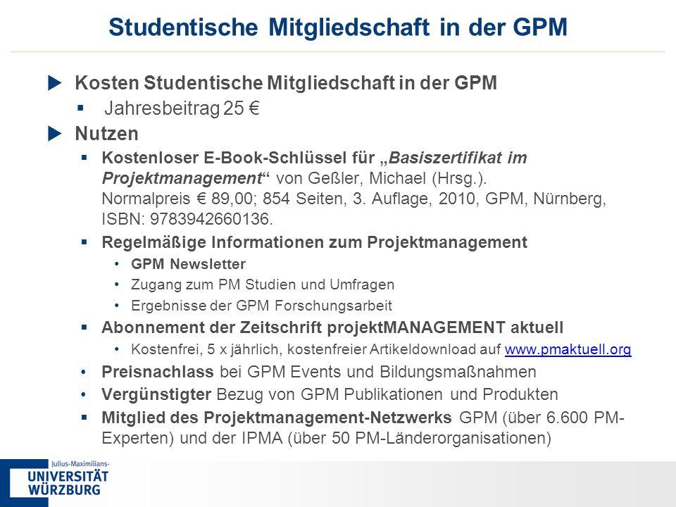 77 Studentische Mitgliedschaft in der GPM  Kosten Studentische Mitgliedschaft in der GPM  Jahresbeitrag 25 €  Nutzen  Kostenloser E-Book-Schlüssel
