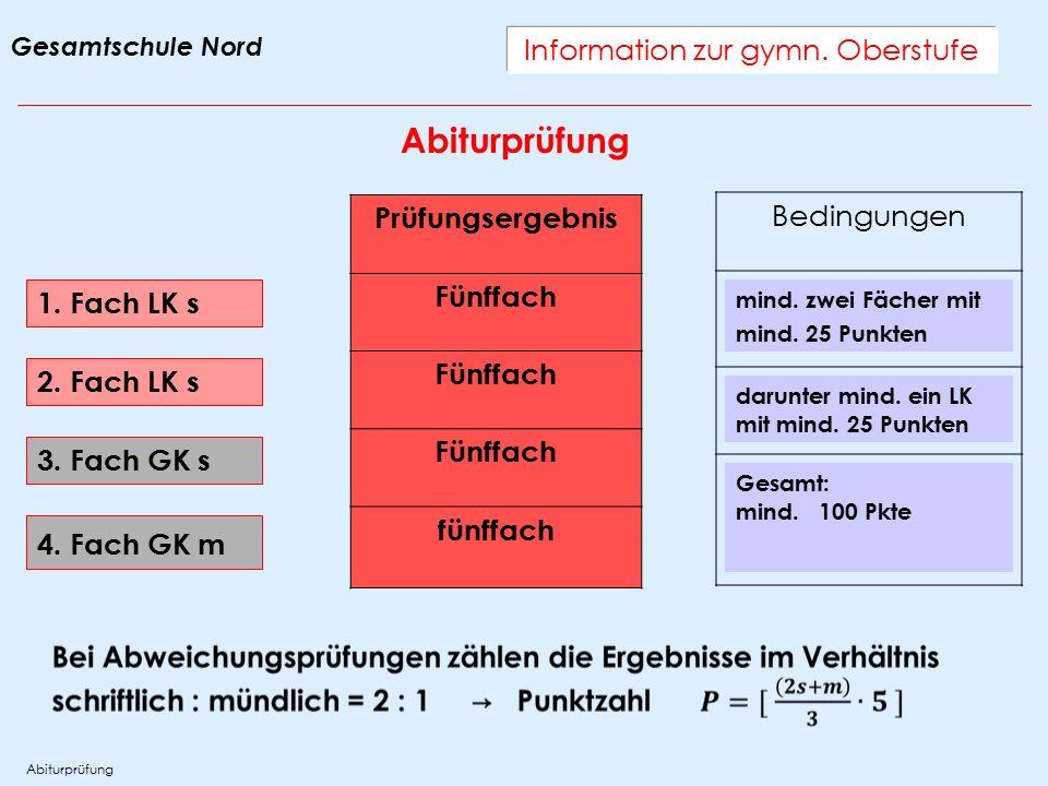 Information zur gymn. Oberstufe Abiturprüfung 1. Fach LK s Prüfungsergebnis Fünffach fünffach 2.