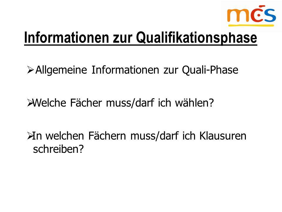 Informationen zur Qualifikationsphase  Allgemeine Informationen zur Quali-Phase  Welche Fächer muss/darf ich wählen.