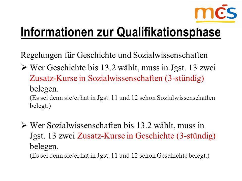 Regelungen für Geschichte und Sozialwissenschaften  Wer Geschichte bis 13.2 wählt, muss in Jgst.