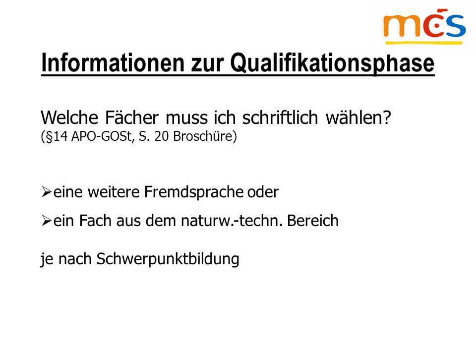 Informationen zur Qualifikationsphase Welche Fächer muss ich schriftlich wählen.