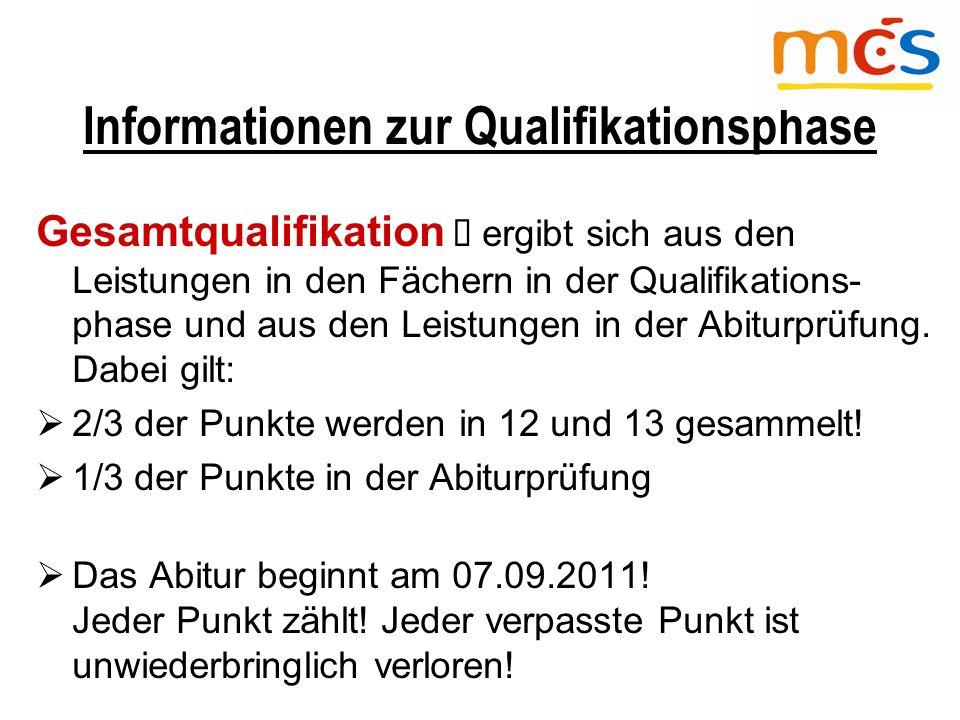 Informationen zur Qualifikationsphase Gesamtqualifikation  ergibt sich aus den Leistungen in den Fächern in der Qualifikations- phase und aus den Leistungen in der Abiturprüfung.