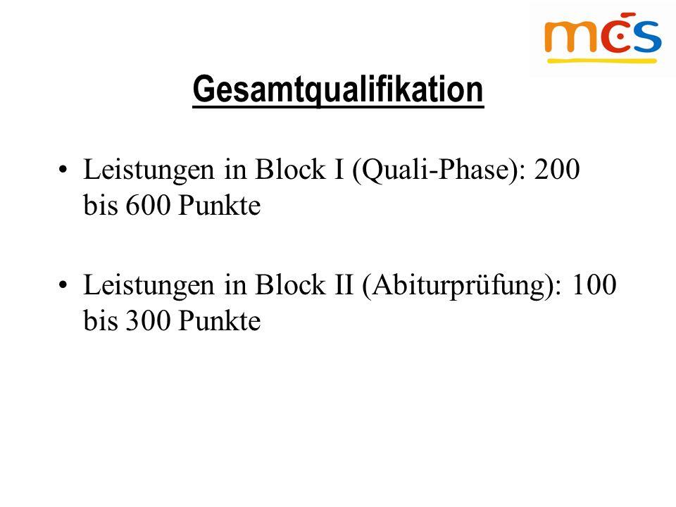 Gesamtqualifikation Leistungen in Block I (Quali-Phase): 200 bis 600 Punkte Leistungen in Block II (Abiturprüfung): 100 bis 300 Punkte