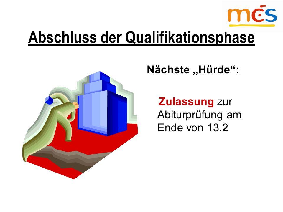 """Abschluss der Qualifikationsphase Nächste """"Hürde : Zulassung zur Abiturprüfung am Ende von 13.2"""