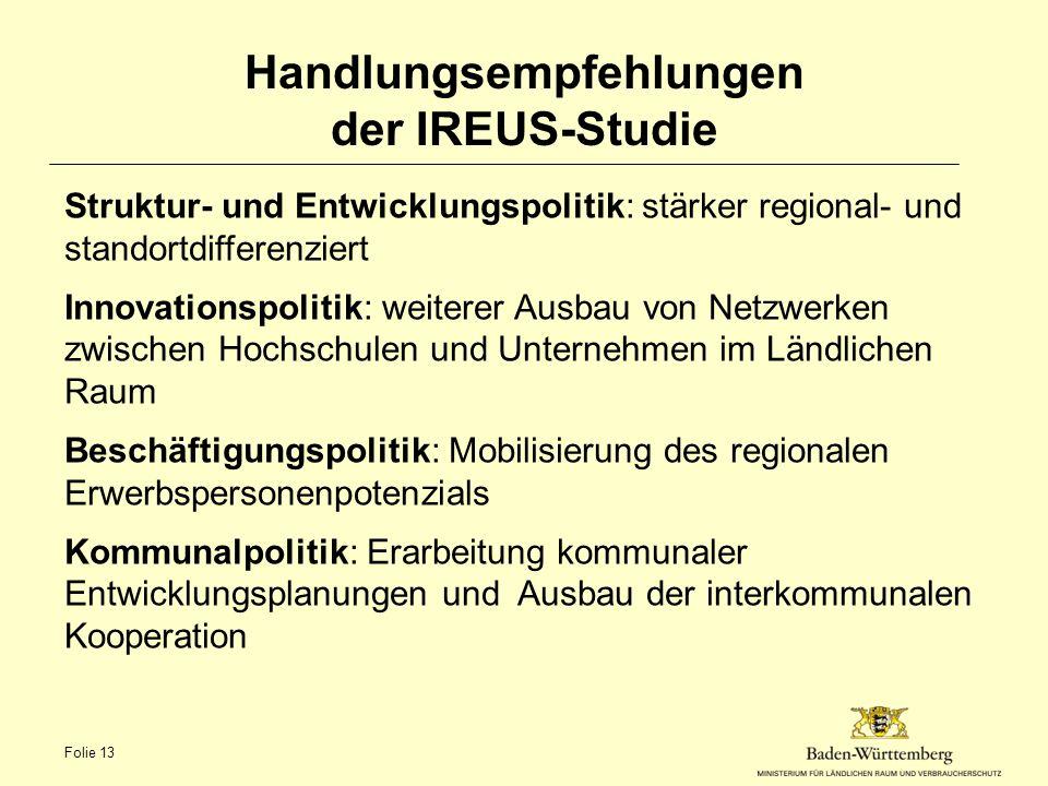 Handlungsempfehlungen der IREUS-Studie Struktur- und Entwicklungspolitik: stärker regional- und standortdifferenziert Innovationspolitik: weiterer Aus