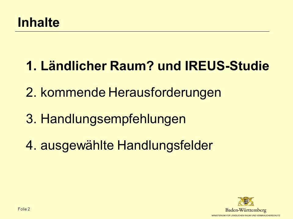 Inhalte 1.Ländlicher Raum? und IREUS-Studie 2.kommende Herausforderungen 3.Handlungsempfehlungen 4.ausgewählte Handlungsfelder Folie 2