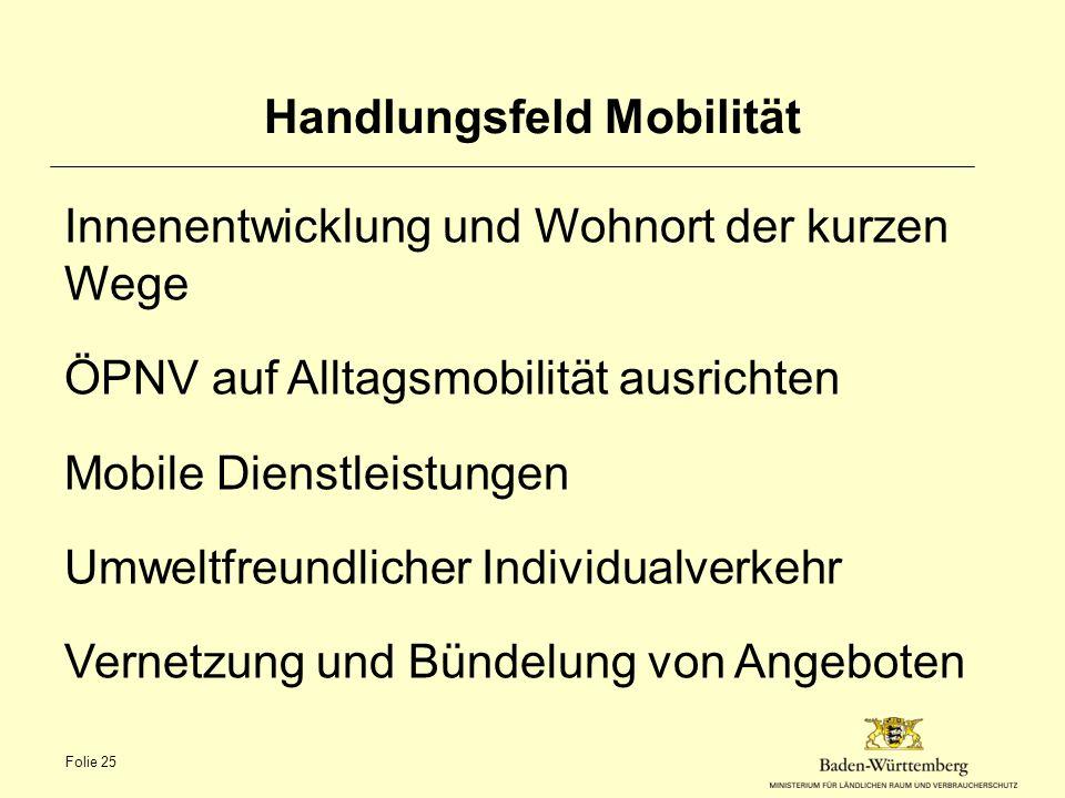 Handlungsfeld Mobilität Innenentwicklung und Wohnort der kurzen Wege ÖPNV auf Alltagsmobilität ausrichten Mobile Dienstleistungen Umweltfreundlicher I