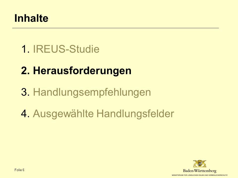 Inhalte 1.IREUS-Studie 2.Herausforderungen 3.Handlungsempfehlungen 4.Ausgewählte Handlungsfelder Folie 6
