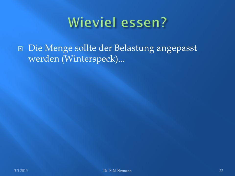  Die Menge sollte der Belastung angepasst werden (Winterspeck)... 3.3.2015Dr. Ecki Hermann22
