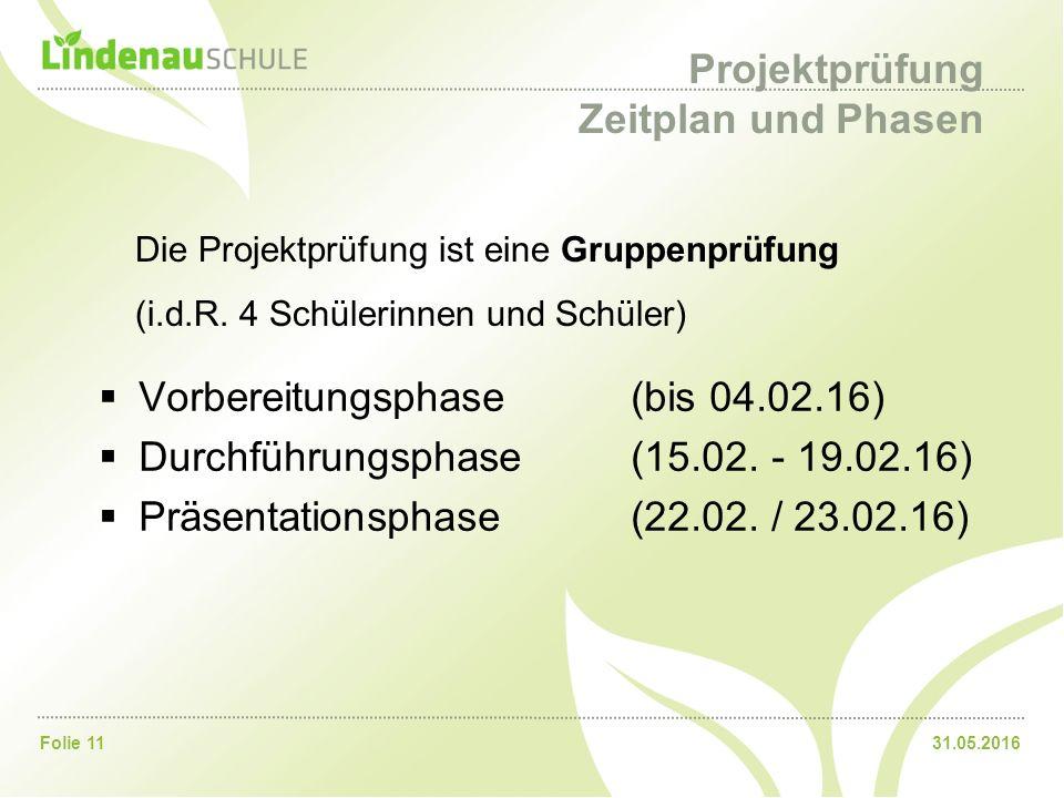31.05.2016Folie 11 Projektprüfung Zeitplan und Phasen  Vorbereitungsphase(bis 04.02.16)  Durchführungsphase(15.02. - 19.02.16)  Präsentationsphase(