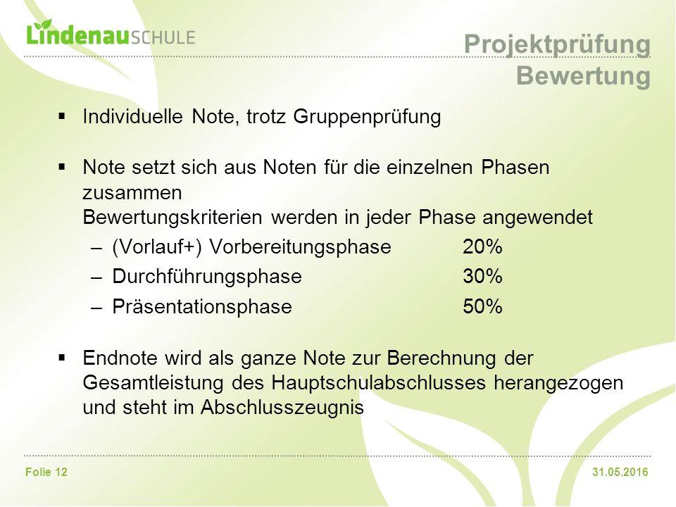 31.05.2016Folie 12 Projektprüfung Bewertung  Individuelle Note, trotz Gruppenprüfung  Note setzt sich aus Noten für die einzelnen Phasen zusammen Be