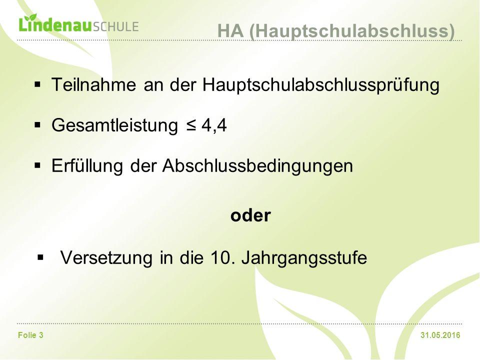 31.05.2016Folie 3 HA (Hauptschulabschluss)  Teilnahme an der Hauptschulabschlussprüfung  Gesamtleistung ≤ 4,4  Erfüllung der Abschlussbedingungen oder  Versetzung in die 10.
