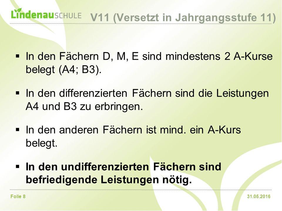 31.05.2016Folie 8 V11 (Versetzt in Jahrgangsstufe 11)  In den Fächern D, M, E sind mindestens 2 A-Kurse belegt (A4; B3).  In den differenzierten Fäc
