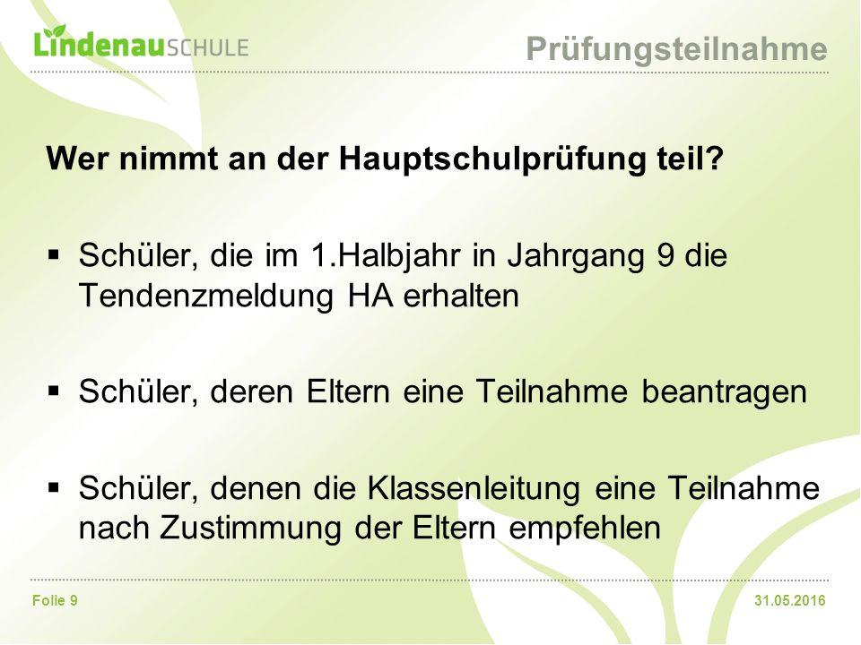 31.05.2016Folie 9 Prüfungsteilnahme Wer nimmt an der Hauptschulprüfung teil.
