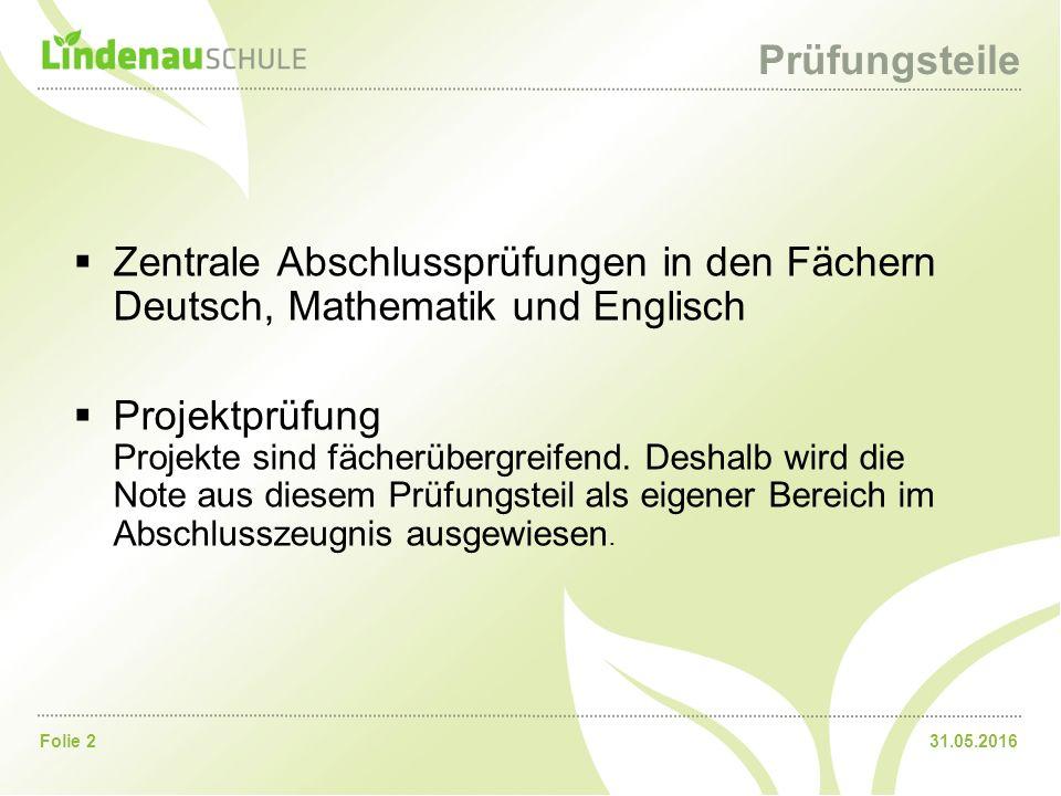 31.05.2016Folie 2 Prüfungsteile  Zentrale Abschlussprüfungen in den Fächern Deutsch, Mathematik und Englisch  Projektprüfung Projekte sind fächerübe