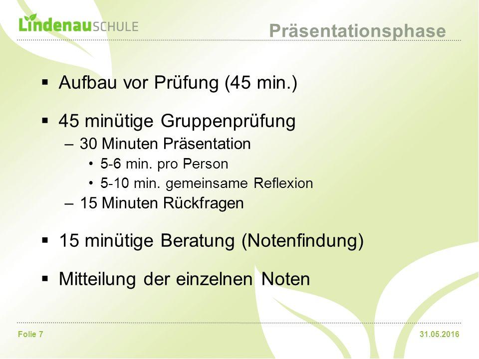 31.05.2016Folie 7 Präsentationsphase  Aufbau vor Prüfung (45 min.)  45 minütige Gruppenprüfung –30 Minuten Präsentation 5-6 min. pro Person 5-10 min