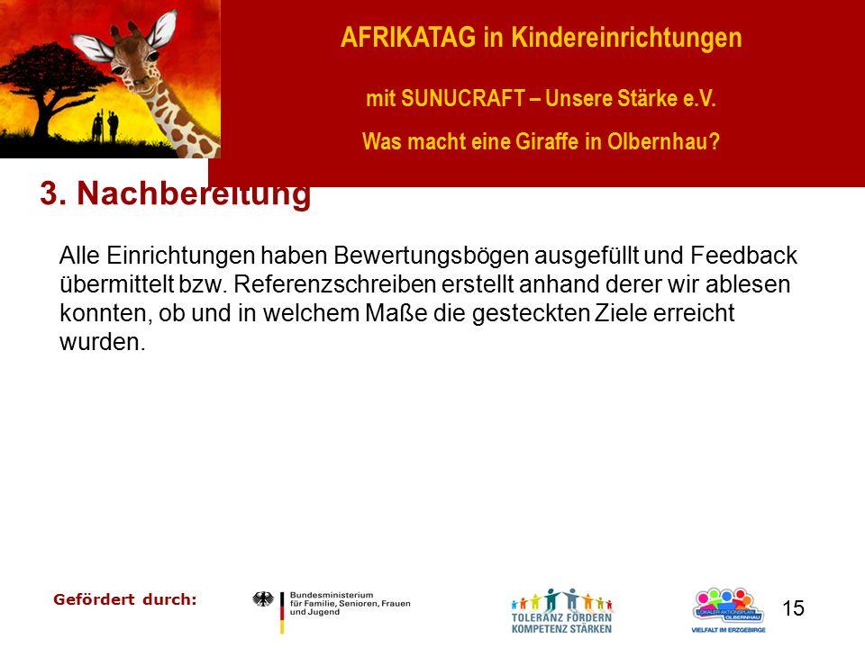 AFRIKATAG in Kindereinrichtungen mit SUNUCRAFT – Unsere Stärke e.V. Was macht eine Giraffe in Olbernhau? Gefördert durch: 15 3. Nachbereitung Alle Ein