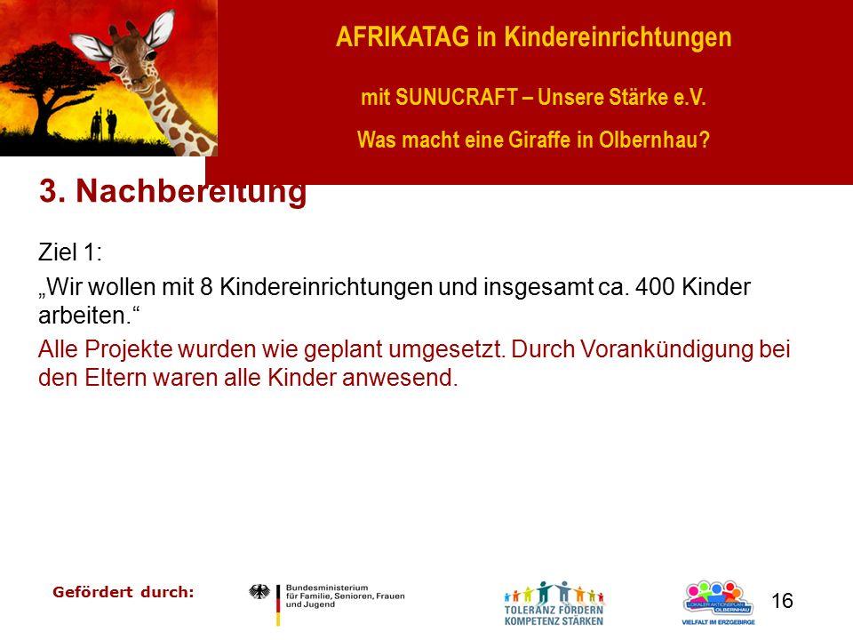 AFRIKATAG in Kindereinrichtungen mit SUNUCRAFT – Unsere Stärke e.V. Was macht eine Giraffe in Olbernhau? Gefördert durch: 16 3. Nachbereitung Ziel 1: