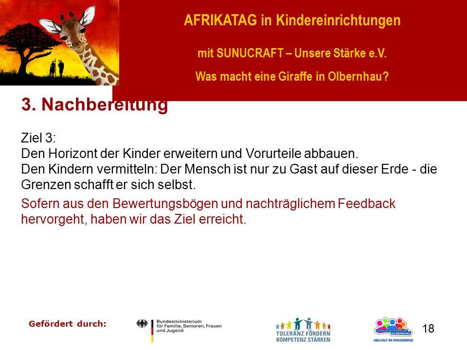 AFRIKATAG in Kindereinrichtungen mit SUNUCRAFT – Unsere Stärke e.V. Was macht eine Giraffe in Olbernhau? Gefördert durch: 18 3. Nachbereitung Ziel 3: