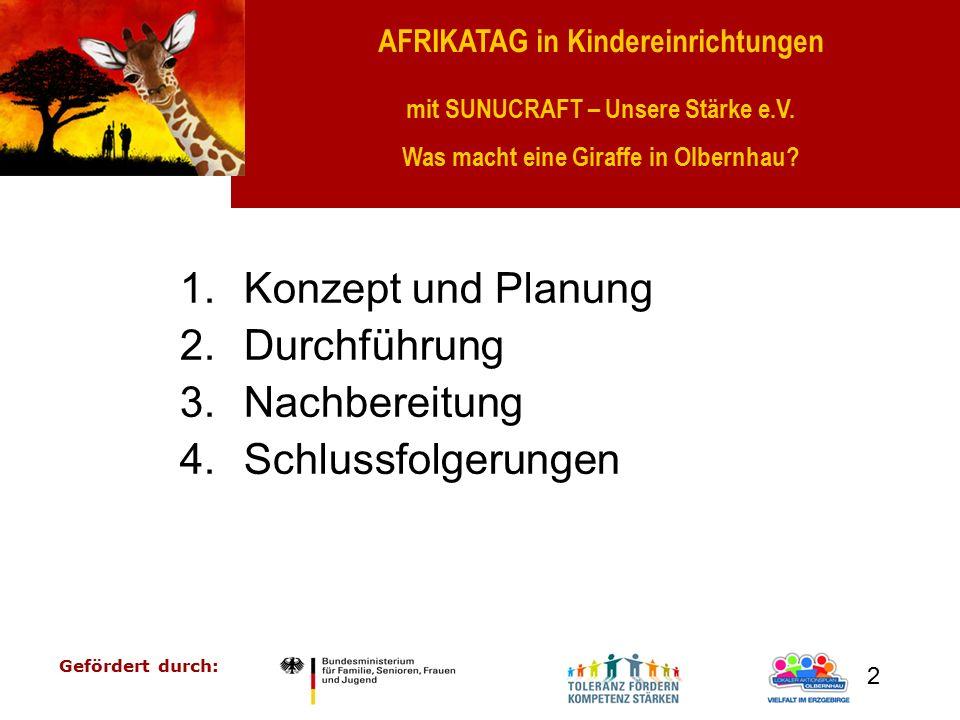 AFRIKATAG in Kindereinrichtungen mit SUNUCRAFT – Unsere Stärke e.V. Was macht eine Giraffe in Olbernhau? Gefördert durch: 2 1.Konzept und Planung 2.Du