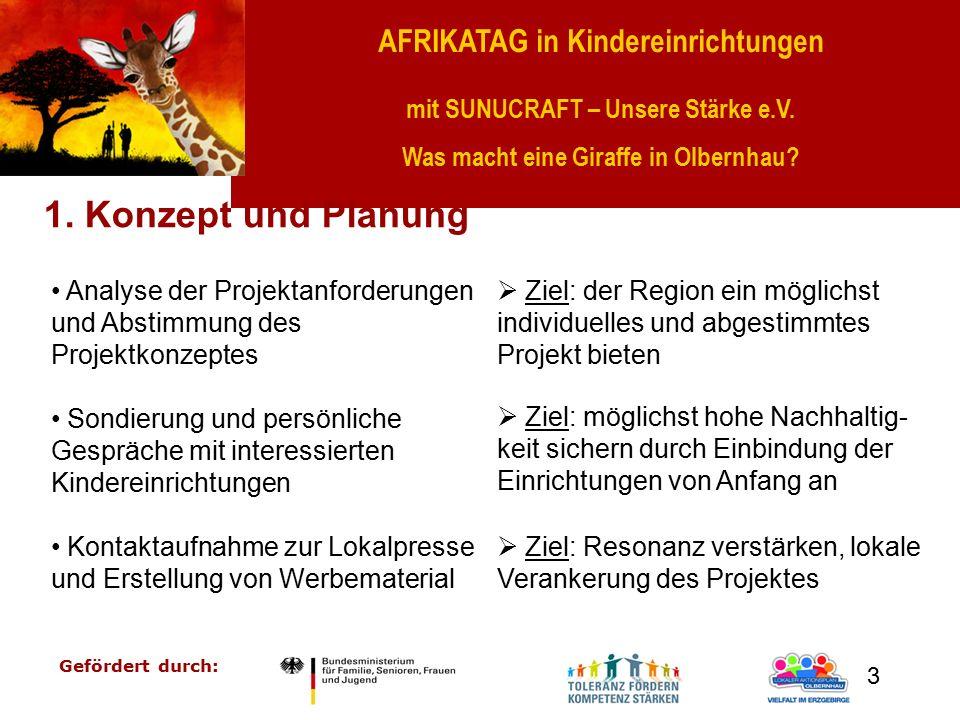 AFRIKATAG in Kindereinrichtungen mit SUNUCRAFT – Unsere Stärke e.V. Was macht eine Giraffe in Olbernhau? Gefördert durch: 3 1. Konzept und Planung Ana