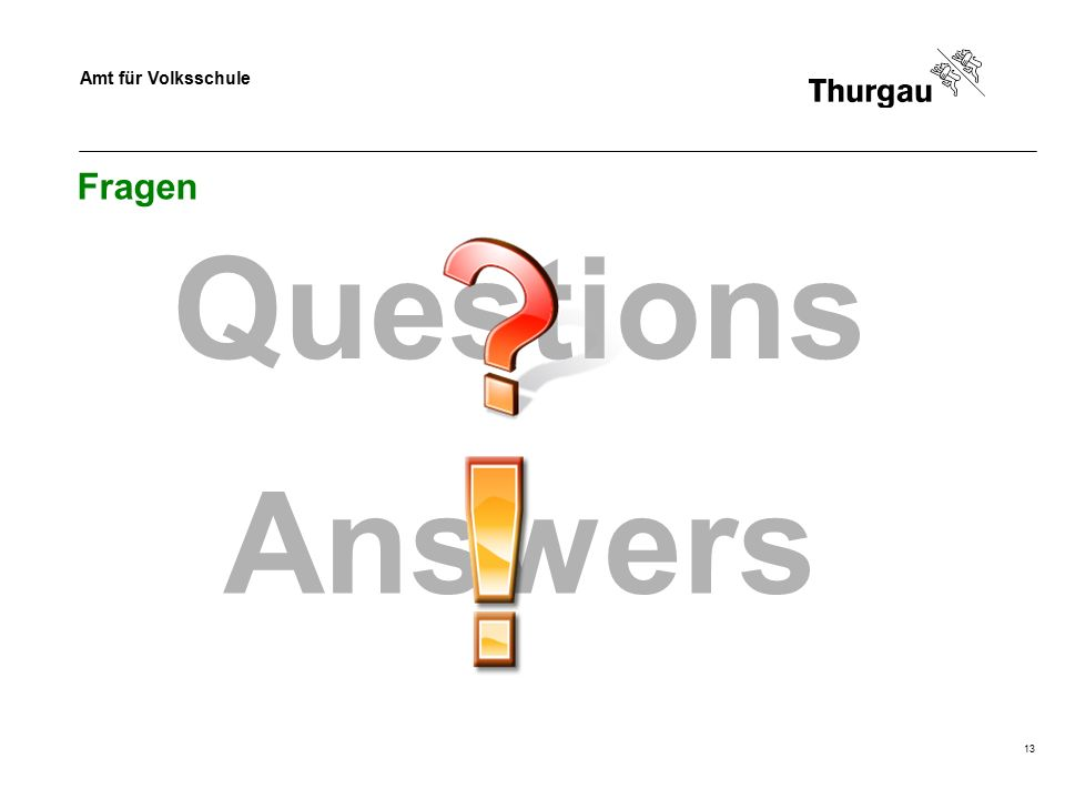 Amt für Volksschule 13 Fragen Questions Answers