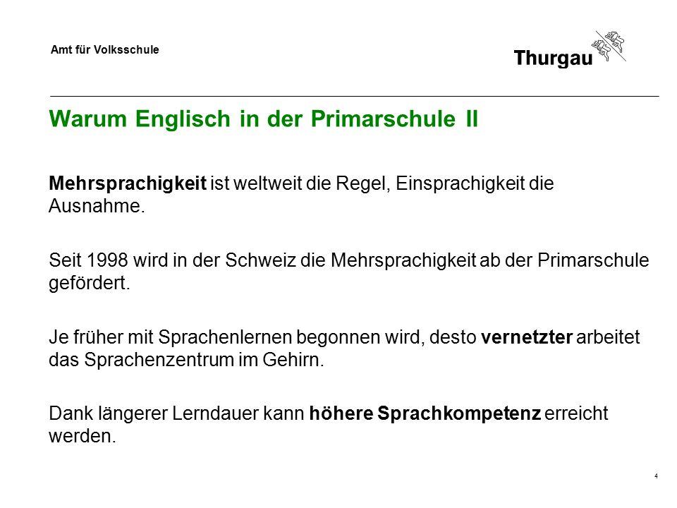 Amt für Volksschule 5 Warum Englisch in der Primarschule III Studie des NFP 56: Primarschulkinder werden mit zwei Fremdsprachen nicht überfordert.