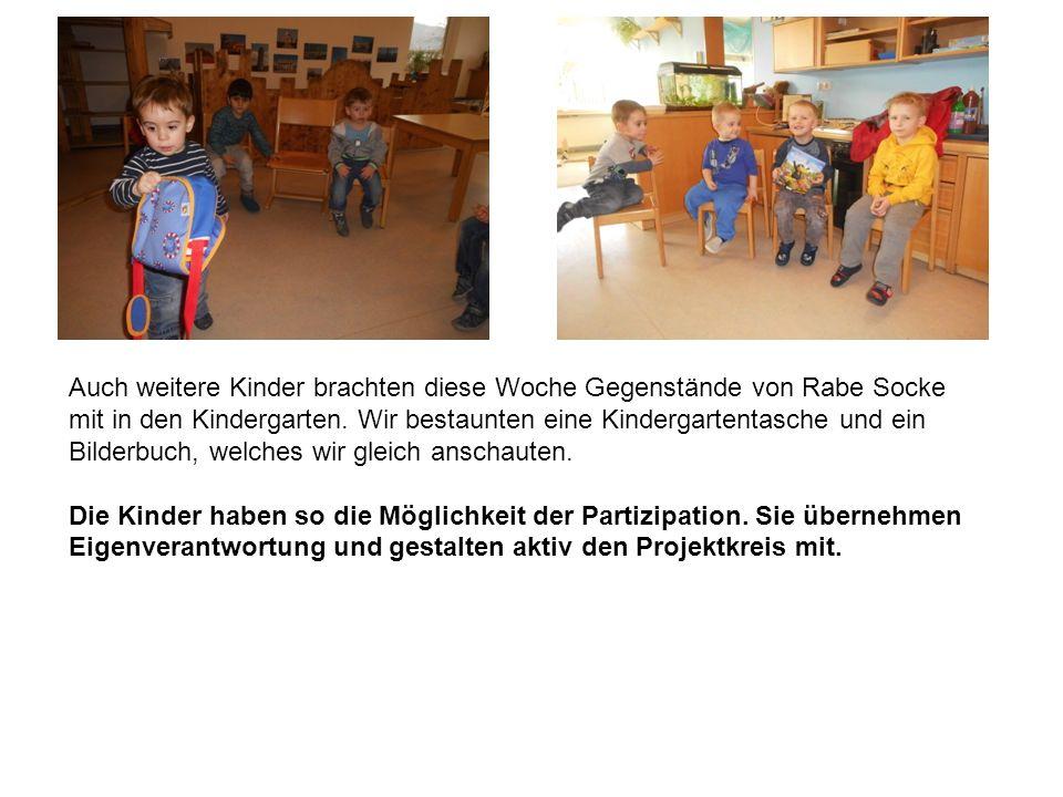 Auch weitere Kinder brachten diese Woche Gegenstände von Rabe Socke mit in den Kindergarten.