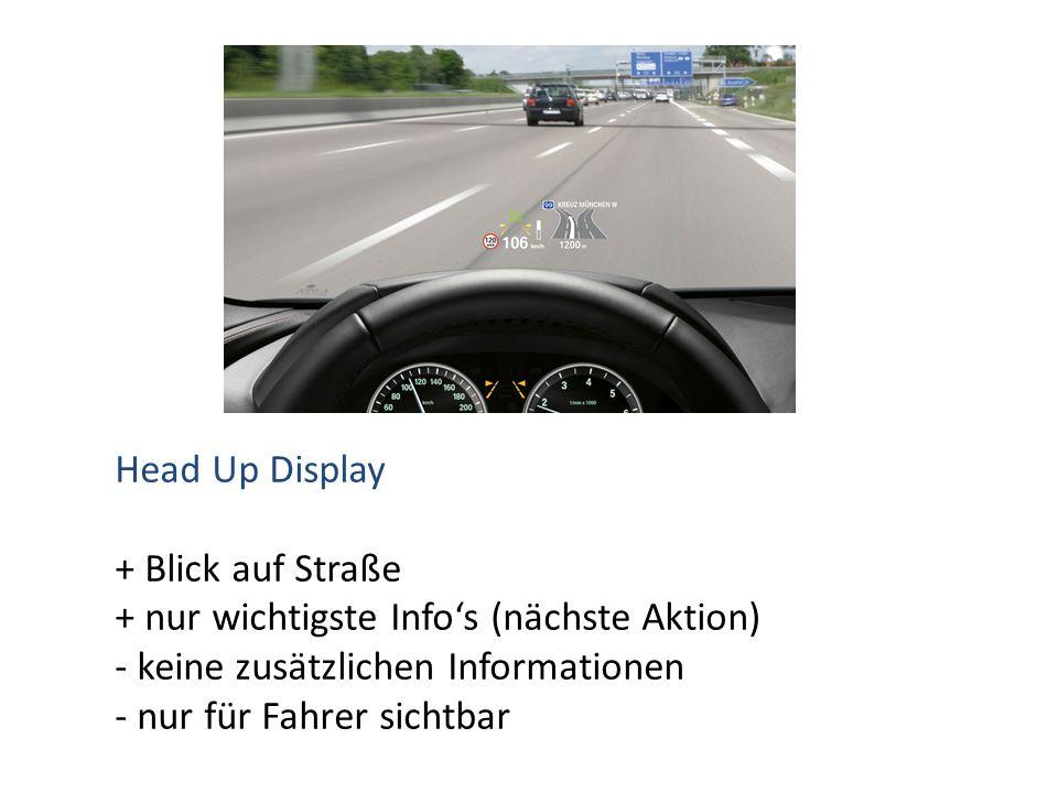 Head Up Display + Blick auf Straße + nur wichtigste Info's (nächste Aktion) - keine zusätzlichen Informationen - nur für Fahrer sichtbar