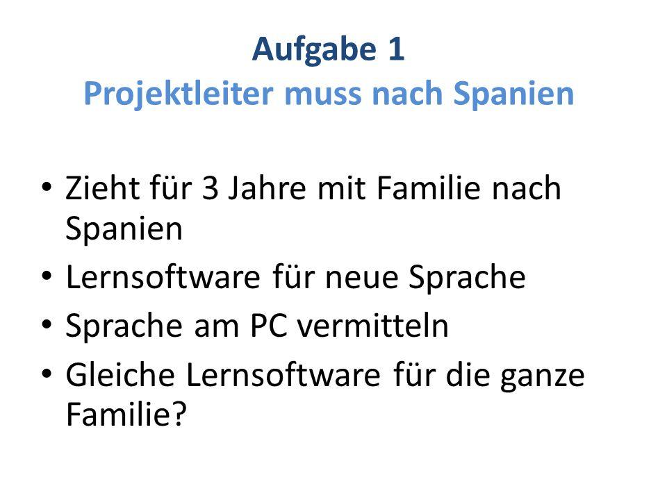 Aufgabe 1 Projektleiter muss nach Spanien Zieht für 3 Jahre mit Familie nach Spanien Lernsoftware für neue Sprache Sprache am PC vermitteln Gleiche Lernsoftware für die ganze Familie