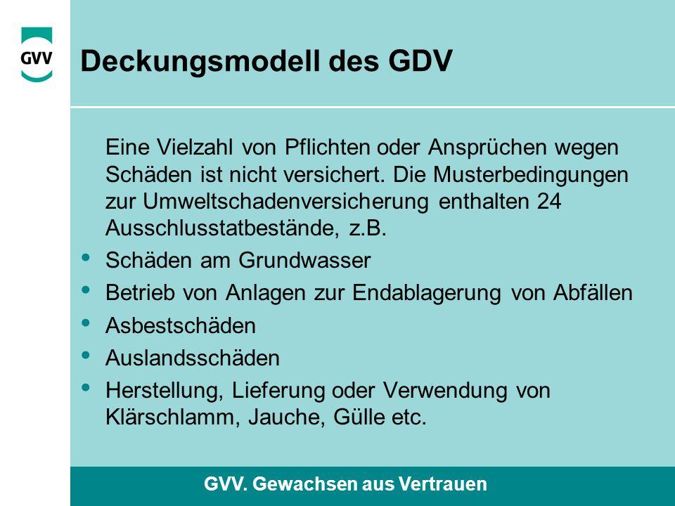 GVV. Gewachsen aus Vertrauen Deckungsmodell des GDV Eine Vielzahl von Pflichten oder Ansprüchen wegen Schäden ist nicht versichert. Die Musterbedingun