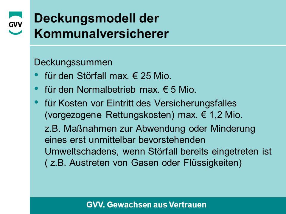 GVV. Gewachsen aus Vertrauen Deckungsmodell der Kommunalversicherer Deckungssummen für den Störfall max. € 25 Mio. für den Normalbetrieb max. € 5 Mio.