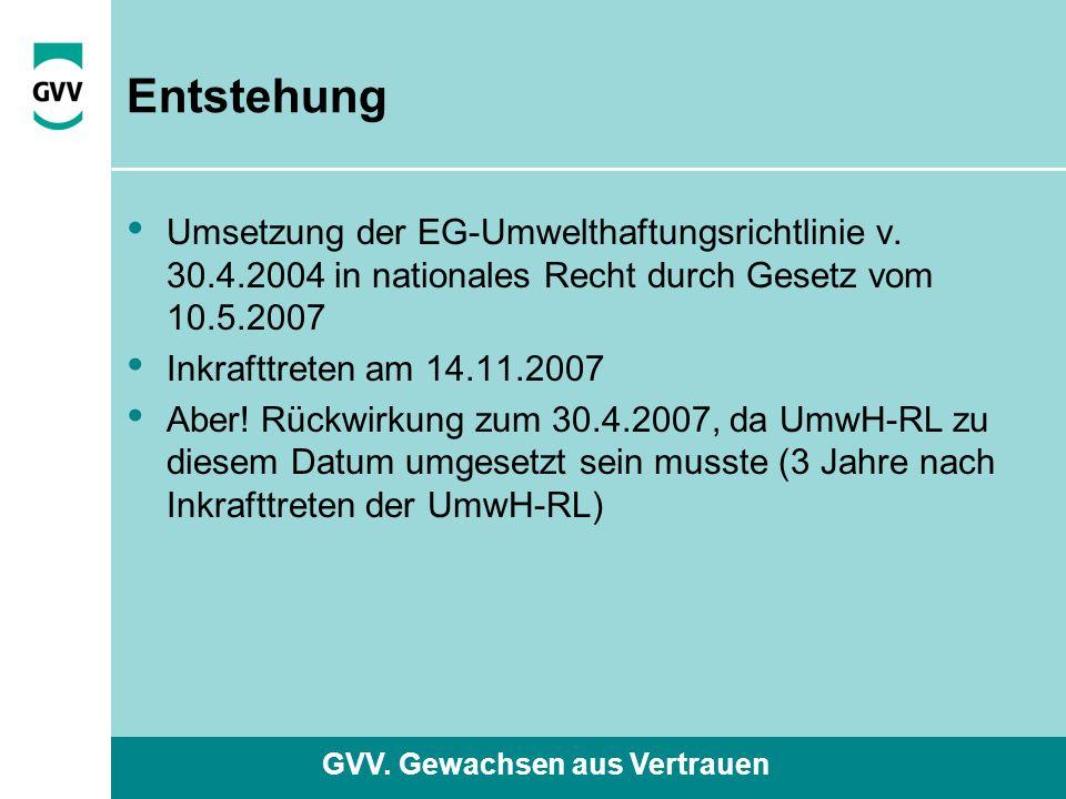 GVV. Gewachsen aus Vertrauen Entstehung Umsetzung der EG-Umwelthaftungsrichtlinie v.