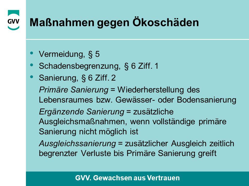 GVV. Gewachsen aus Vertrauen Maßnahmen gegen Ökoschäden Vermeidung, § 5 Schadensbegrenzung, § 6 Ziff. 1 Sanierung, § 6 Ziff. 2 Primäre Sanierung = Wie
