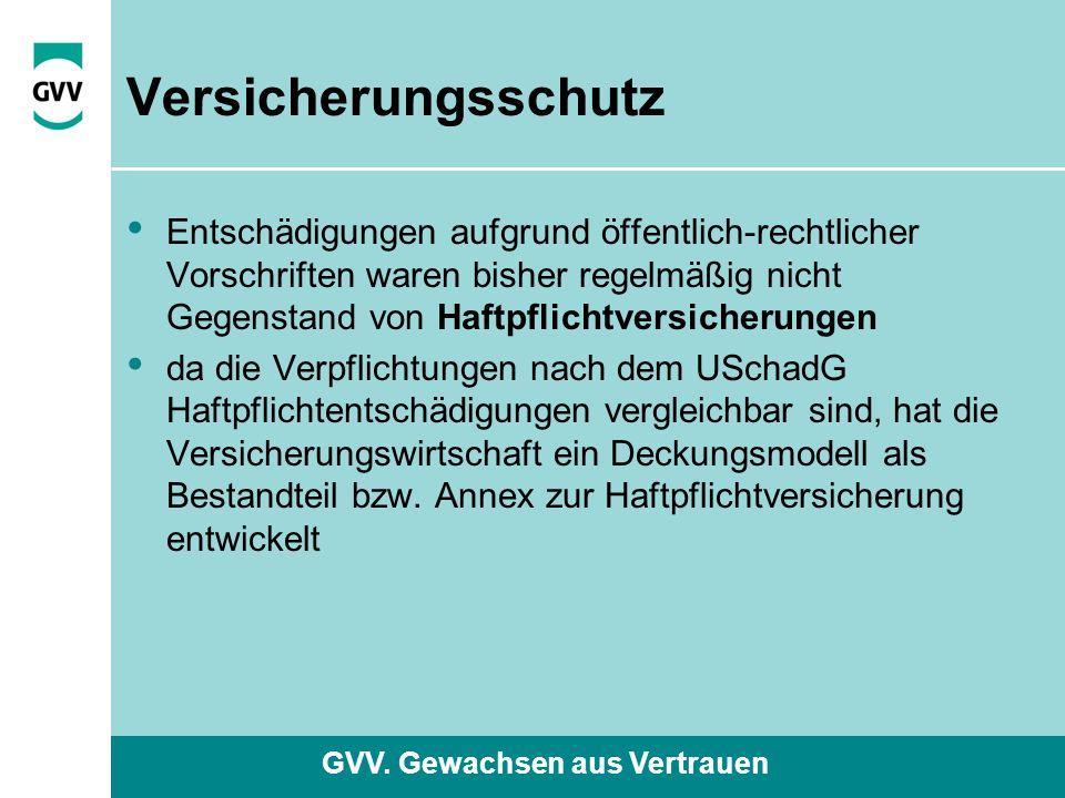 GVV. Gewachsen aus Vertrauen Versicherungsschutz Entschädigungen aufgrund öffentlich-rechtlicher Vorschriften waren bisher regelmäßig nicht Gegenstand