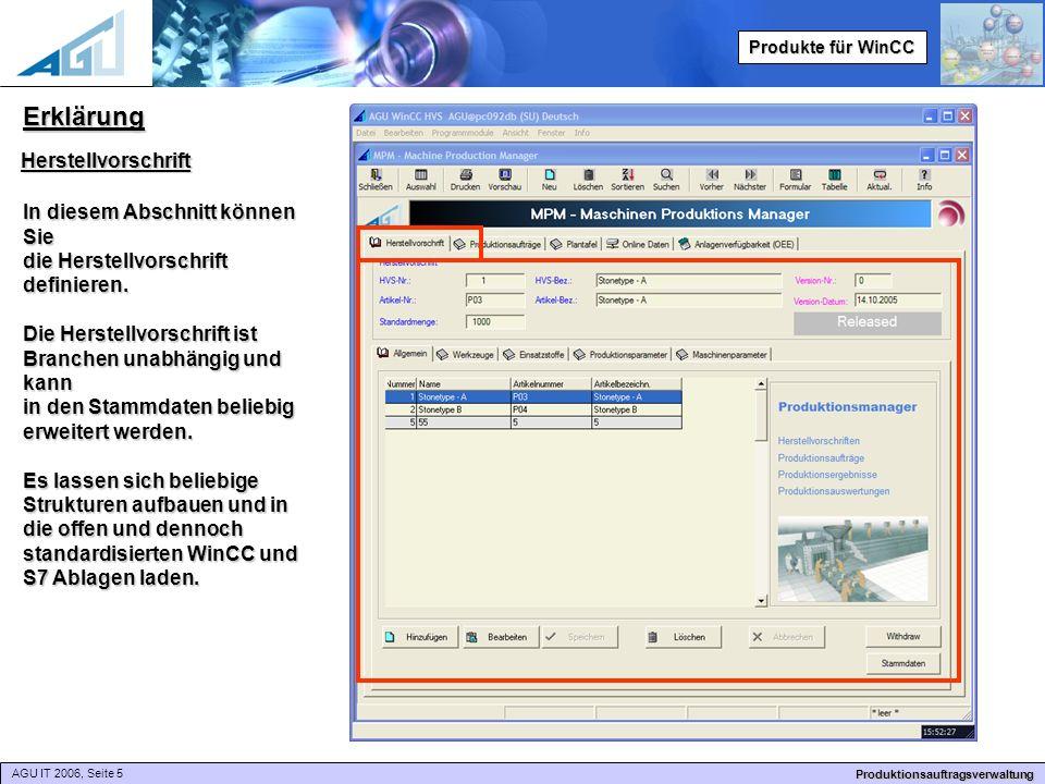AGU IT 2006, Seite 5 Produktionsauftragsverwaltung Produkte für WinCC Erklärung Herstellvorschrift In diesem Abschnitt können Sie die Herstellvorschrift definieren.