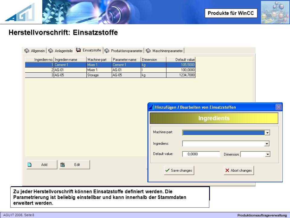 AGU IT 2006, Seite 8 Produktionsauftragsverwaltung Produkte für WinCC Herstellvorschrift: Einsatzstoffe Zu jeder Herstellvorschrift können Einsatzstoffe definiert werden.