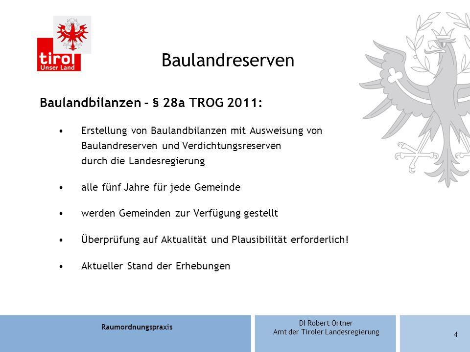 Raumordnungspraxis DI Robert Ortner Amt der Tiroler Landesregierung 5 Automatische Baulandbilanzerstellung: Grundlagen