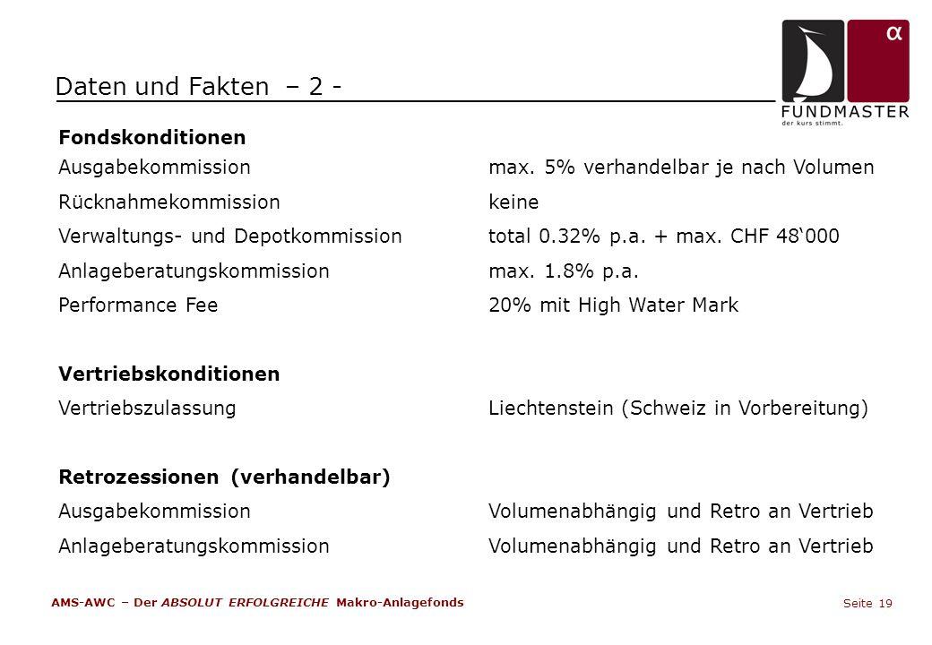 Fondskonditionen Ausgabekommissionmax. 5% verhandelbar je nach Volumen Rücknahmekommission keine Verwaltungs- und Depotkommissiontotal 0.32% p.a. + ma