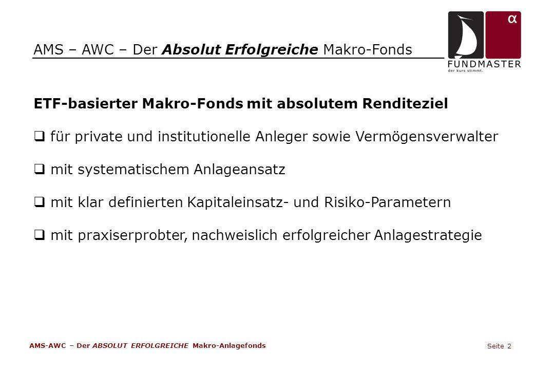 AMS – AWC – Der Absolut Erfolgreiche Makro-Fonds ETF-basierter Makro-Fonds mit absolutem Renditeziel  für private und institutionelle Anleger sowie V