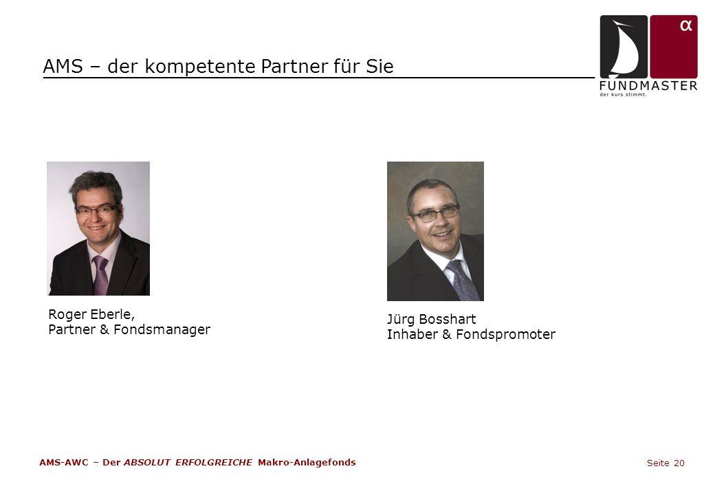 AMS – der kompetente Partner für Sie Roger Eberle, Partner & Fondsmanager Jürg Bosshart Inhaber & Fondspromoter AMS-AWC – Der ABSOLUT ERFOLGREICHE Mak