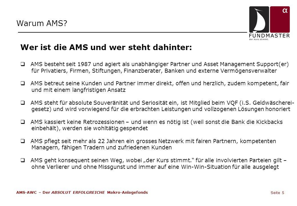 Wer ist die AMS und wer steht dahinter:  AMS besteht seit 1987 und agiert als unabhängiger Partner und Asset Management Support(er) für Privatiers, F
