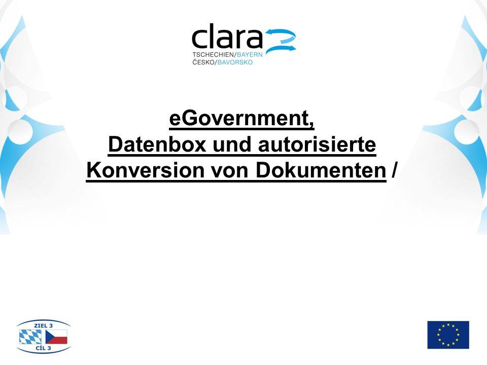 eGovernment, Datenbox und autorisierte Konversion von Dokumenten /