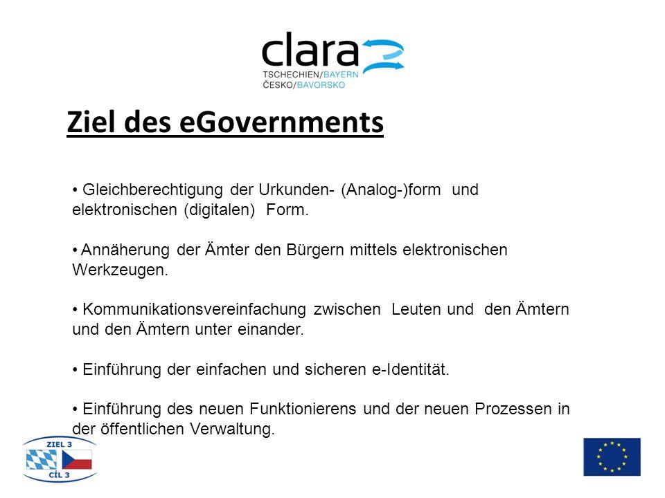 Ziel des eGovernments Gleichberechtigung der Urkunden- (Analog-)form und elektronischen (digitalen) Form.