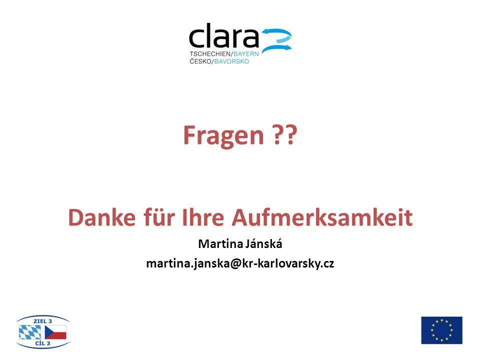 Fragen ?? Danke für Ihre Aufmerksamkeit Martina Jánská martina.janska@kr-karlovarsky.cz