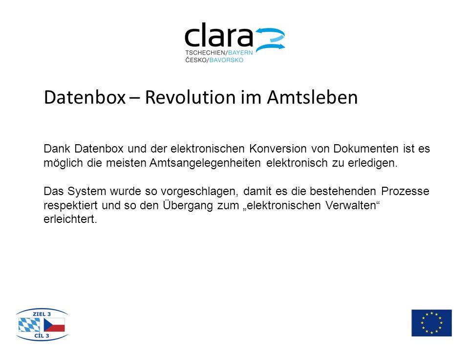 Datenbox – Revolution im Amtsleben Dank Datenbox und der elektronischen Konversion von Dokumenten ist es möglich die meisten Amtsangelegenheiten elektronisch zu erledigen.