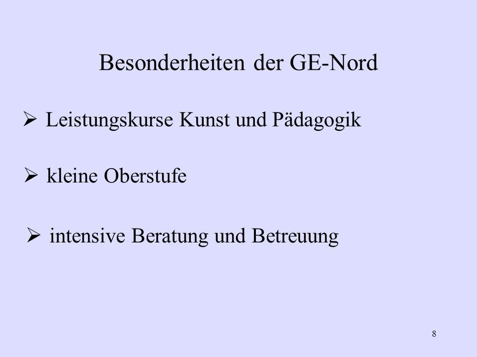 Besonderheiten der GE-Nord 8  Leistungskurse Kunst und Pädagogik  kleine Oberstufe  intensive Beratung und Betreuung