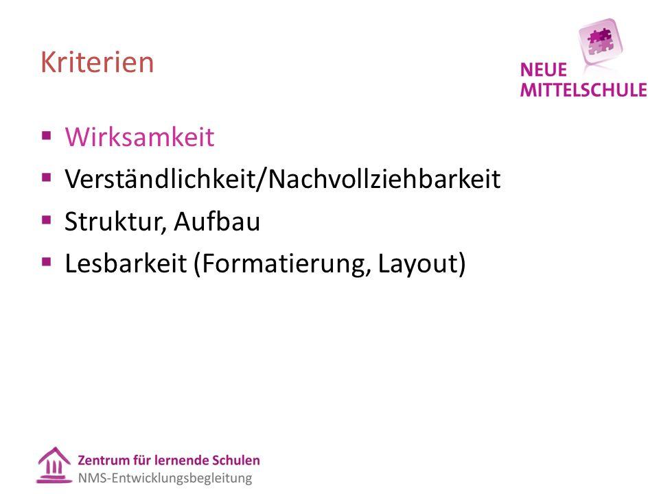 Kriterien  Wirksamkeit  Verständlichkeit/Nachvollziehbarkeit  Struktur, Aufbau  Lesbarkeit (Formatierung, Layout)