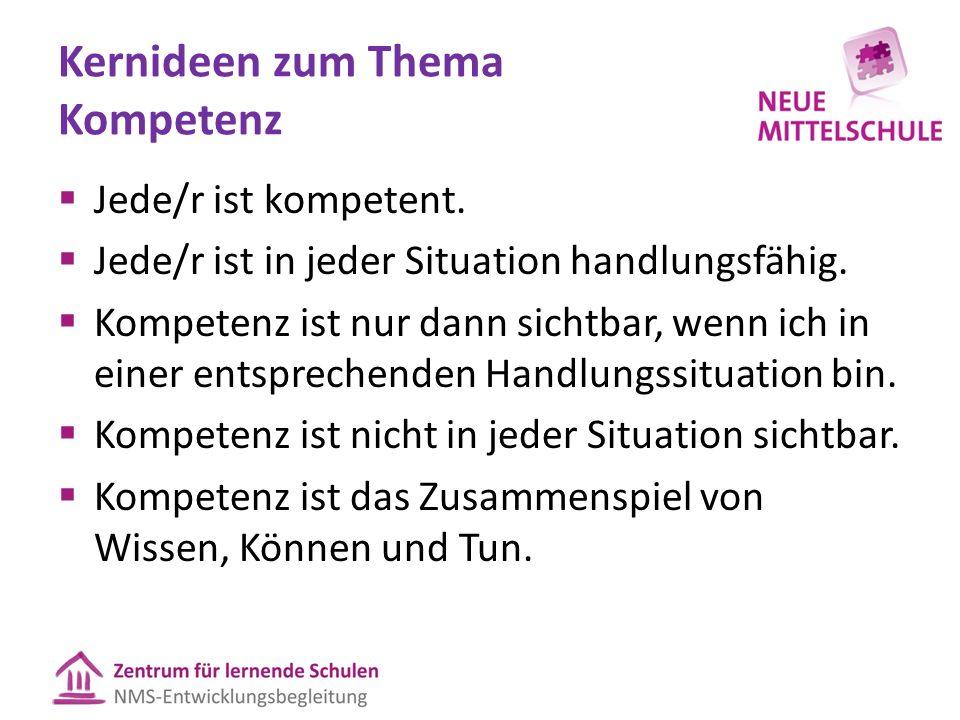 Kernideen zum Thema Kompetenz  Jede/r ist kompetent.